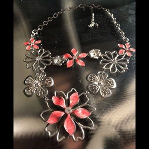 Coral and silver floral necklace!